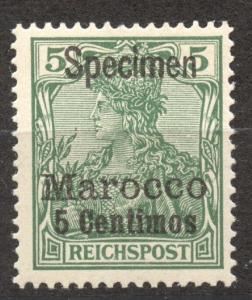 Morocco 1900, German Offices, SPECIMEN, 5 Ct. Germania, MVLH