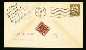 US Stamps VF Pilot Signed First Class Flight Cover U.S.S. Macon 1934