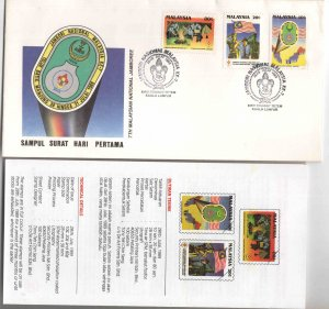 Malaysia Scott 395-397 Scout set on FDC with brochure enclosed