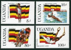 Uganda 554-557,558,MNH.Michel 534-537,Bl.70. Olympics Seoul-1988.Swimming,Boxing