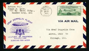 US Stamps # C18 XF Choice Flight Cover Arkon OH To Chicago IL, 1933