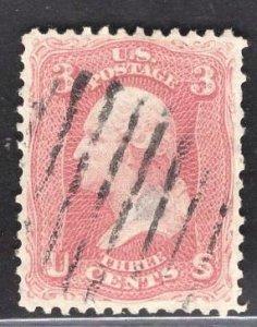 US Stamp#64b 3c Rose Pink Washington  USED SCV $ $150.00