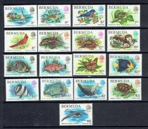 BERMUDA - 1978 BIRDS AND FISH DEFINITIVES - SCOTT 363 TO 379 - MNH