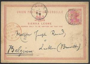 SIERRA LEONE 1896 1d postcard commercially used to Belgium.................56989