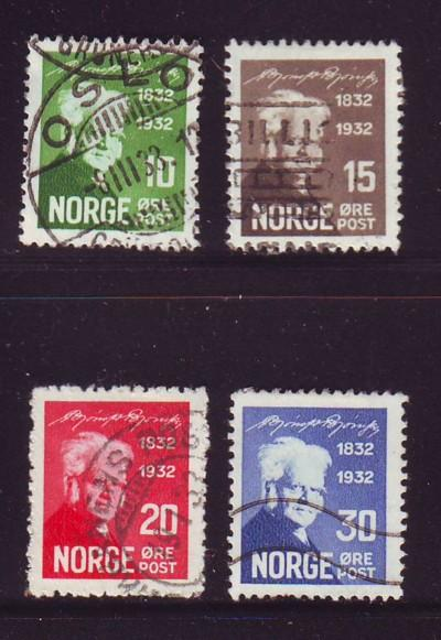 Norway Sc 154-7 1932 100th Anniversary birth of Bjornson stamp set used