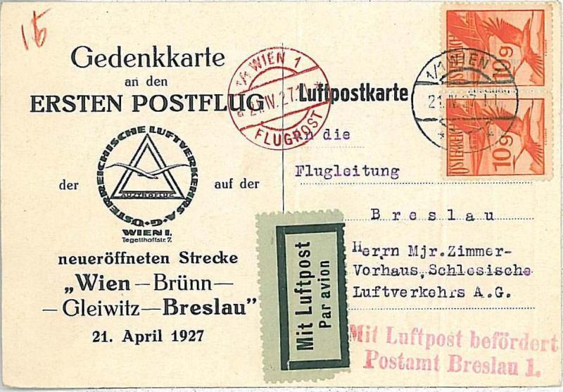 AIRMAIL - 1st FLIGHT CARD - AUSTRIA: Wien / Brünn / Glewitz / Breslau - 21.04.27