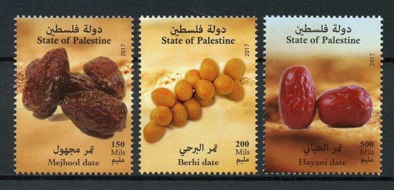 Palestine 2017 MNH Dates Mejhool Berhi Hayani Date 3v Set Gastronomy