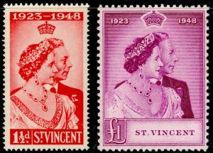 ST. VINCENT SG162-163, ROYAL SILVER WEDDING set, NH MINT. Cat £27.