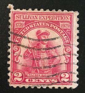 657 Sullivan Expedition, circulated single, Vic's Stamp Stash