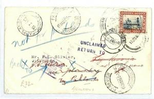 SOUTH WEST AFRICA Broughton UNCLAIMED RETURNED Cover 1939{samwells-covers} CW224
