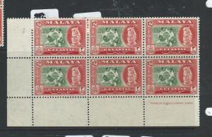 MALAYA KELANTAN (P0410B) $2.00  SG 93 MPRINT BL OF 6   MNH