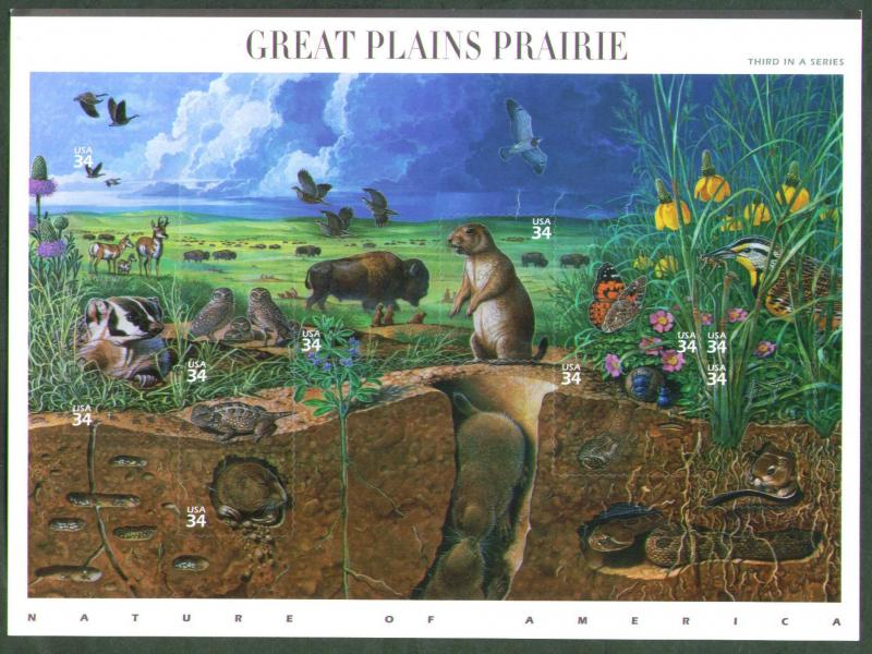 2001 sheet Great Plains Prairie Sc# 3506