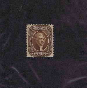 SC# 30A UNUSED ORIGINAL GUM HINGED 5 CENT JEFFERSON, 1860, 2019 PSAG CERT
