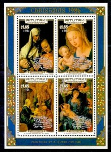 AITUTAKI - 1986 - CHRISTMAS - VIRGIN & CHILD - DURER - PAPAL VISIT - MINT S/S!