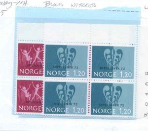 Norway Scott 594-595 Mint NH blocks with tickets