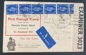 1941 England First Day Airmail  Cover To Rosewell SD USA First Penny Black Stamo