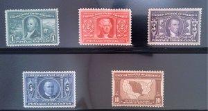 Scott #323-327 VF - Louisiana Purchase Expo - MNH except #327 - 1904