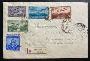 1937 Bucarest Romania Airmail Registered Cover To Chrudim Czechoslovakia