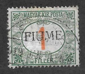 Fiume Scott J4c Used 1f Postage Due overprinted stamp 2015 CV $24.00