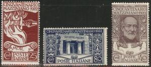 ITALY Scott 140-142 MH* 1922 Mzzini stamp set  CV $51