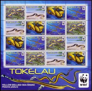 Tokelau WWF Yellow-bellied Sea Snake Sheetlet of 4 sets / 16v SG#420-423