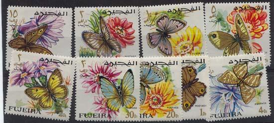 Fujeira Set of NIne Butterflies and Flowers - Mint NH