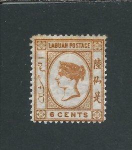 LABUAN 1879 6c ORANGE-BROWN MM SG 2 CAT £225