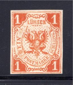 Scott#2, 1 schilling, Lubeck, German State, Forgery, MNG