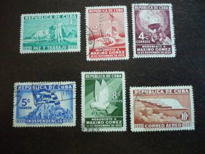 Stamps - Cuba - Scott# 332-336, C23 Used Partial Set of 6 Stamps