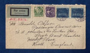 Sweden Sc #119 And Sc #237 and Sc #C6 Pair On A Cover to Hull England  VF
