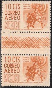 MEXICO C209a 10¢ 1950 Definitive GUTTER PAIR wmk 300 HORIZ ORANGE, MINT, NH VF.