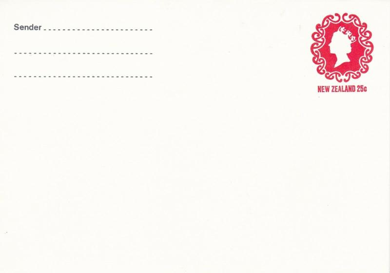 New Zealand 25c Elizabeth prepaid envelope unused VGC