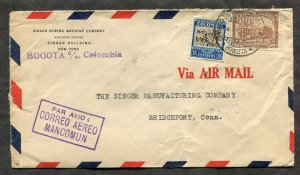 p144 - COLOMBIA 1933 Mancomun Airmail Cover to USA