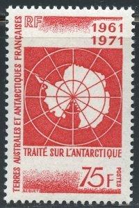 FSAT Scott 45 (SG71) MVFNHOG - 1971 10th Annv. of Antarctic Treaty - SCV $28.00
