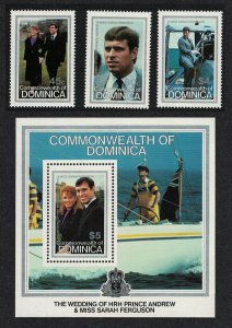 Dominica Royal Wedding Prince Andrew 3v+MS 1986 MNH SG#1018-MS1021