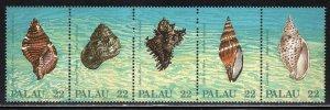 Palau # 150-54 (154a) ~ Strip of 5 ~ Shells ~ Mint, NH