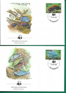 1984   GRENADA  -  WWF - CORAL REEF FISH  - SET OF 4 FIRST DAY COVERS