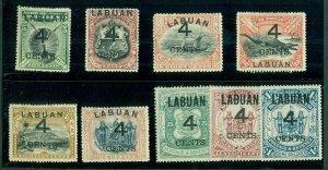 LABUAN #87-95, Complete Ovpt set, og, hinged, VF, Scott $351.25