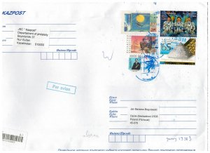 Kazakhstan 2020 Registered Cover to Poland Stamps Space Astronauts Birds
