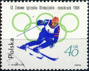 POLAND / POLEN - 1964 Mi.1459A 45gr Winter Olympics (Downhill) - VF Used (b)