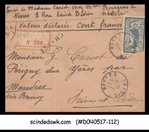 FRANCE - 1914 REGISTERED Envelope with Stamp - USED