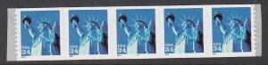 USA PNC SC# 3477 LIBERTY FIRST CLASS $0.34c PL# 1111 SELF ADHESIVE PNC5 MNH