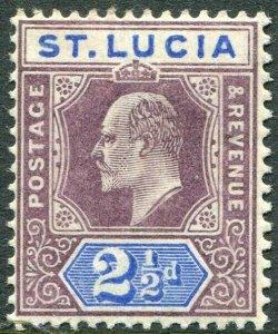 ST LUCIA-1904-10 2½d Dull Purple & Ultramarine Sg 68 LIGHTLY MOUNTED MINT V49017