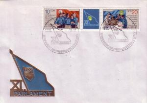 DDR FDC 2185 / 2186 + Label  Free Youth Workers L1
