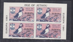 Isle of Jethou, Europa 1961, Puffin Stamps, Block of Four, Hinged.