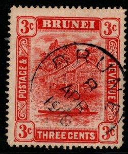 BRUNEI SG38 1916 3c SCARLET TYPE II FINE USED