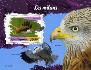 TOGO - 2019 - Birds : Kites - Perf Souv Sheet - M N H