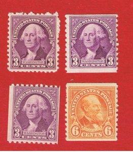 #720-723  MVFLH OG  Washington & Garfield Coils Free S/H