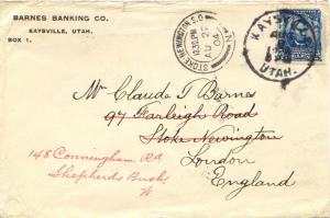 United States Utah Kaysville 1904 cds  5c Lincoln 1902 Definitive to England ...