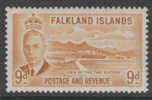 FALKLAND ISLANDS SG179 1952 9d ORANGE-YELLOW MTD MINT